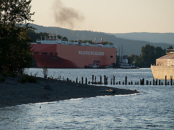 Lower Columbia River Water Trail Trip - Day 2, October 4, 2009<br /> The little pile dike is at the tip of Hayden Island. That ship was being maneuvered into it's dock to unload it's cargo of new cars. The dock is just up from Kelly Point Park. You can't see it but the large container docks are just up from this point. Got some good pictures of it coming on day 3.<br /> This car carrier was unloaded over night and went by me on the river on day 3.
