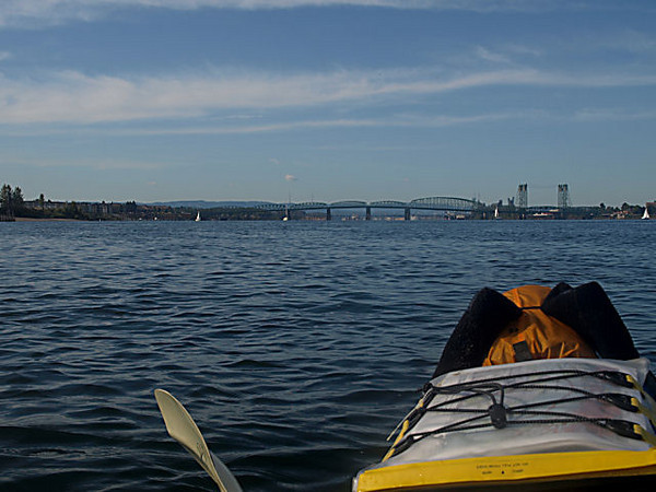 Lower Columbia River Water Trail Trip - Day 2, October 4, 2009<br /> A wider angle view of the Interstate bridge with the east tip of Tomahawk Island on the left.