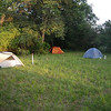 The campsite had several large grass areas to pitch tents.