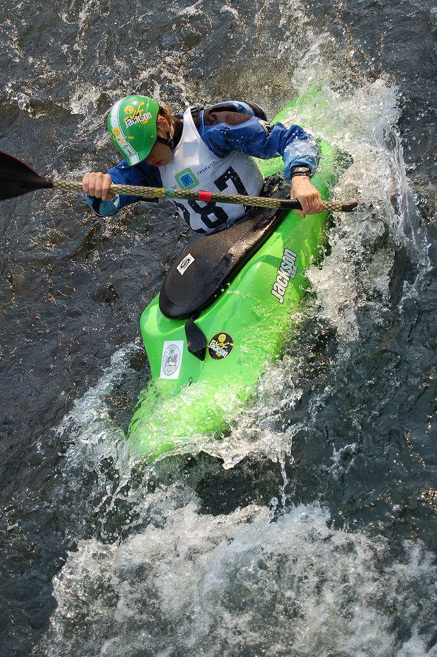 Johnny Shales about to drop Short Creek falls in the Boater Cross event.  North Alabama White Water festival.