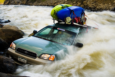 My friend's Car in Juicer Rapid on the North Fork Payette River in Idaho.