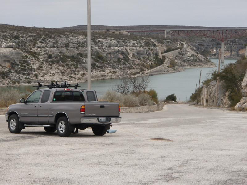 Launch parking with Pecos River and bridge over Hwy 90. About 7 hours west of Houston.