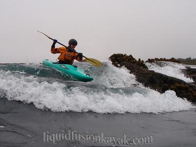 Kayak rock gardening in Fort Bragg's Noyo Bay.
