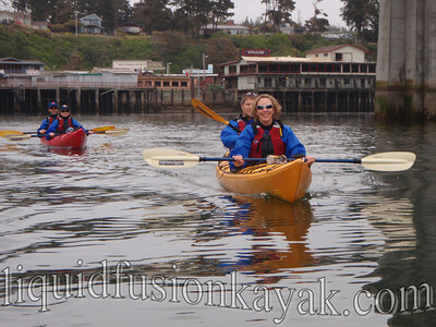 Paddling out of the Noyo Harbor.