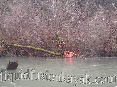 Jeff scouts the thick, willow, and bramble portage option.