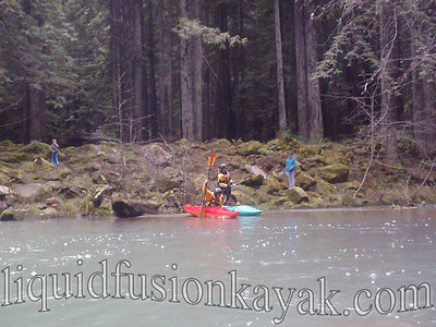 Launching on the South Fork of the Noyo River (newly named Candy Cane Lane) below the Egg Taking Station.