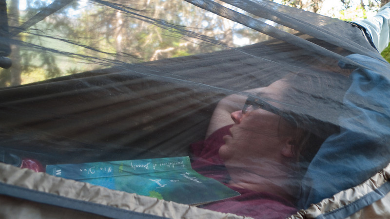 Christine takes a nap in the hammock