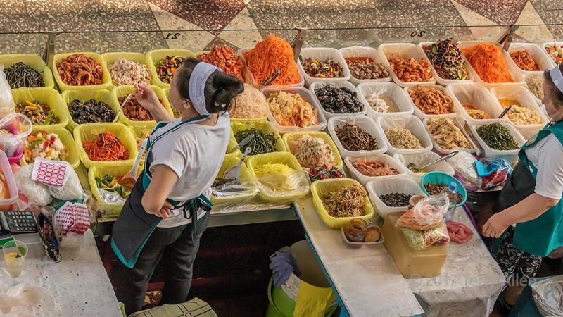 Local Kazakh food for sale at Green (Zelyony) Bazaar, Almaty, Kazakhstan
