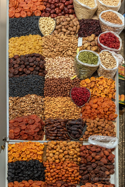 Dried fruits and nuts on display at the Green (Zelyony) Bazaar, Almaty, Kazakhstan