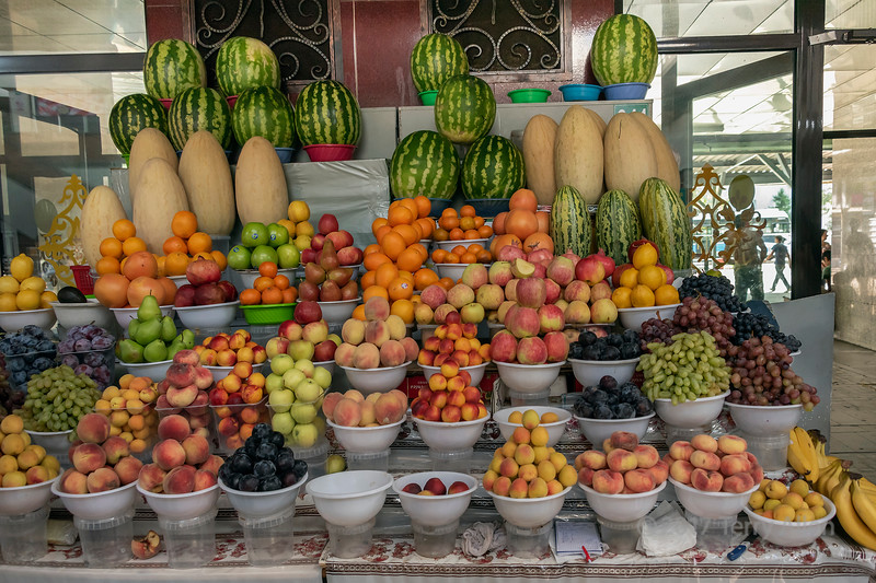 Colourful fruits for sale at the Green (Zelyony) Bazaar, Almaty, Kazakhstan