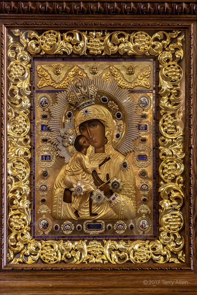 Highly decorated Russian Madonna icon, Zenkov Cathedral, Almaty, Khazahstan