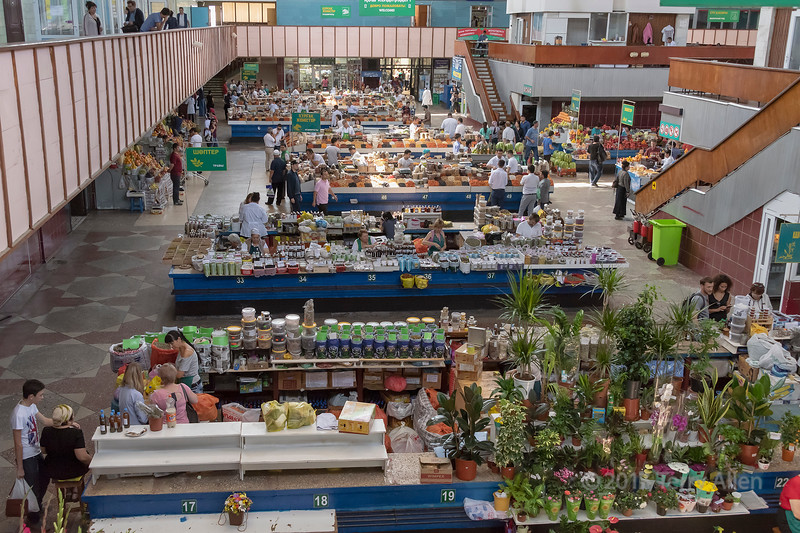 View of one section of the Green Market (Zelyony Bazaar) from the overhead walkway, Almaty, Kazakhstan