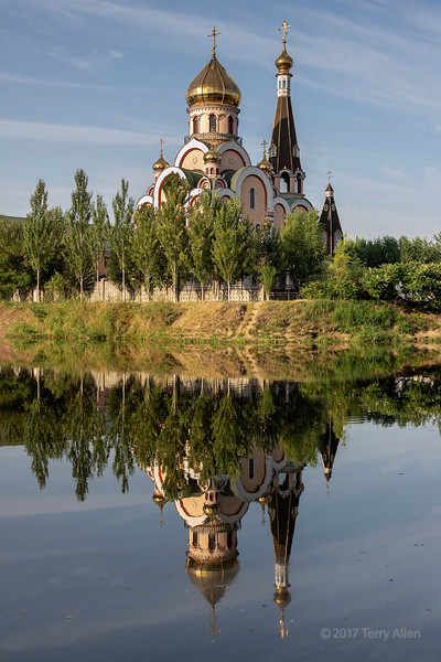 Russian orthodox Church of Exaltation of the Holy Cross with reflections, Almaty, Kazakhstan
