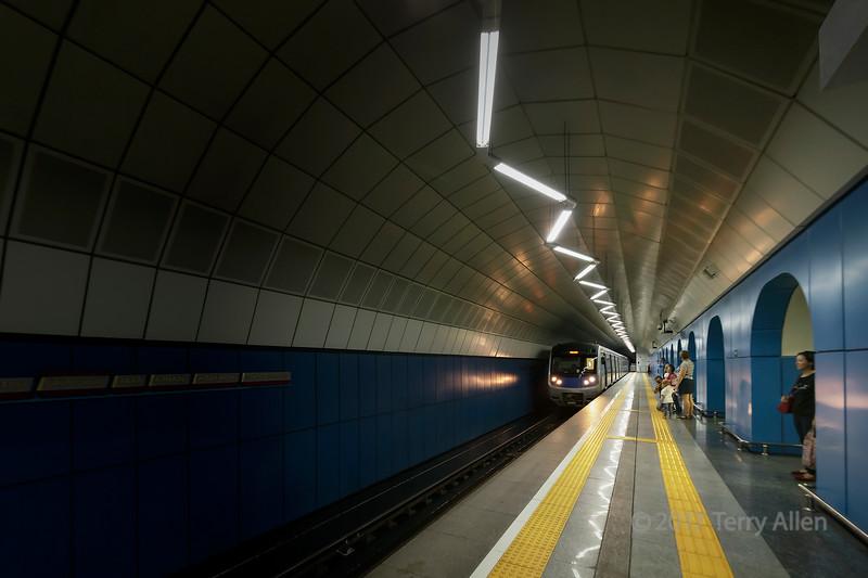 Train entering the subway station,, Baikonur Metro Station, Almaty, Kazakhstan