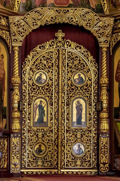 Ornate sacristy door, Zenkov (Ascension) Cathedral, Almaty, Kazakhstan