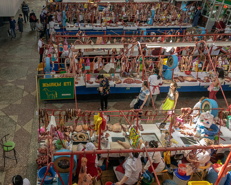 Horse meat sales at Zelyony (Green) Bazaar, Almaty, Kazakhstan