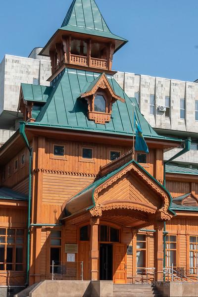 Kazakh Museum of Musical Instruments, traditional wooden Russian building 1908, Almaty, Kazakhstan
