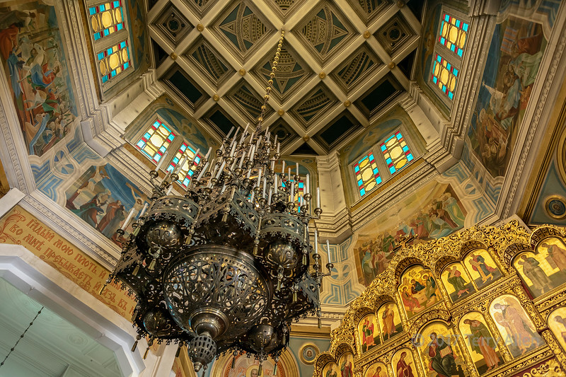 Ascension (Zenkov) Cathedral dome and chandelier, wooden nailess, 1906, Panifilov Park, Almaty, Kazakhstan