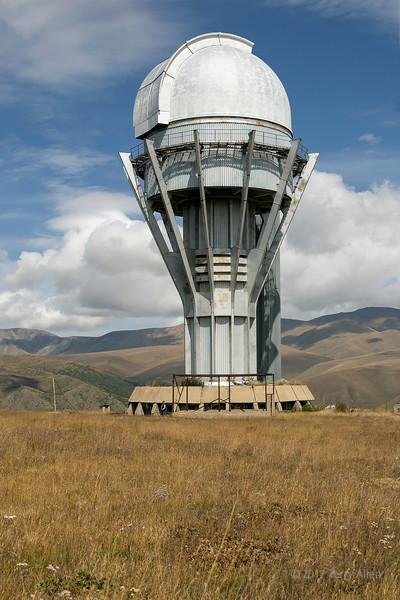 1 point 5 meter telescope building, Soviet-era Assy Turgen Observatory, Assy Plateau, Kazakhstan
