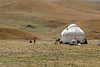 Family of herders near the end of the grazing season living in a yurt on the Assy Plateau, Kazakhstan