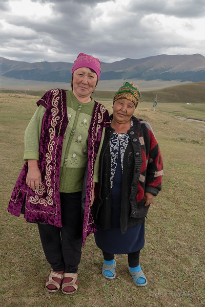 Two generations of Kazakh women on the Assy Plateau, Kazakhstan