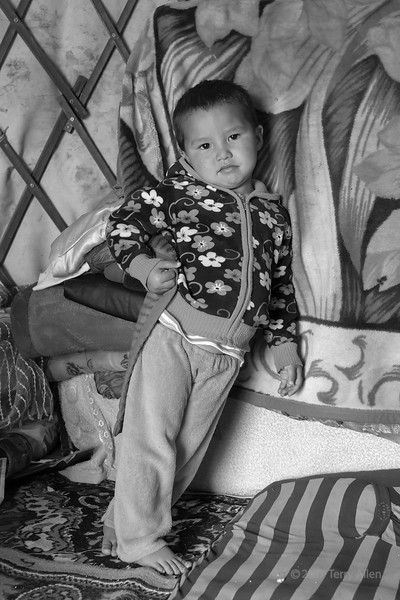 Portrait of a young boy in a herding family's yurt, Assy Plateau, Kazakhstan