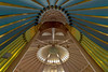 Looking up towards the dome from the mihrab, Sheik Khalifa Mosque, Shymkent, Kazakhstan