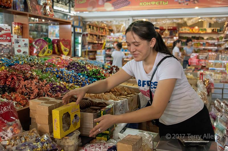 Sweet sales, Shymkent market, Skymkent, Kazakhstan