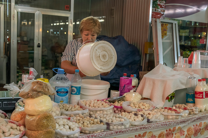 Milk and cheese, Shymkent market, Kazakhstan