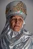 Portrait of a Kazakh village elder in traditional attire, Sharafkent, Kazakhstan
