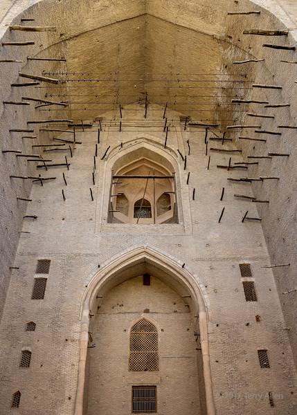 Entrance portal with fired brick and clay constrution, mausoleum of Koja Ahmed Yasawi, Turkestan, Kazakhstan