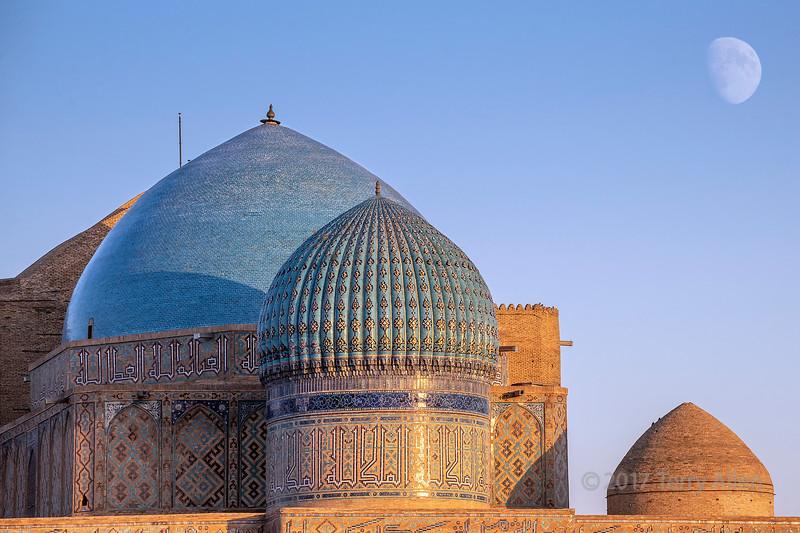 The domes of the mausoleum of Khoja Ahmed Yasawi at sunset, Turkestan, Kazakhstan
