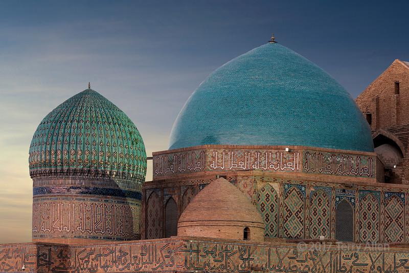 Three domes at sunset