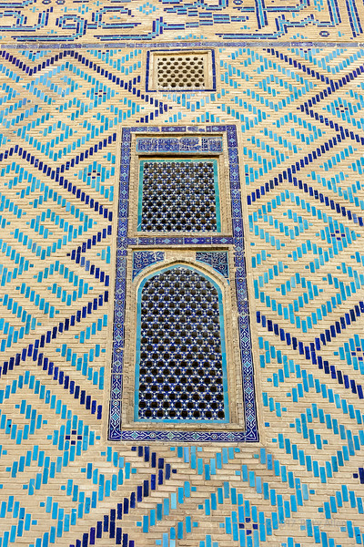 Glazed tiles with Kufic and suls epigrams, exterior wall, mausloleum of Khoja Ahmed Yasawi, Turkestan, Kazakhstan