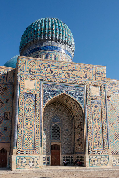 Backside view with ribbed dome and Persian glased tiles, mausoleum of Khoja Ahmed Yasawi, Turkestan, Kazakhstan