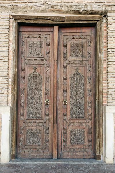 Beautlful carved wooden main door to mausoleum of Khoja Ahmed Yasawi, Turkestan, Kazakhstan