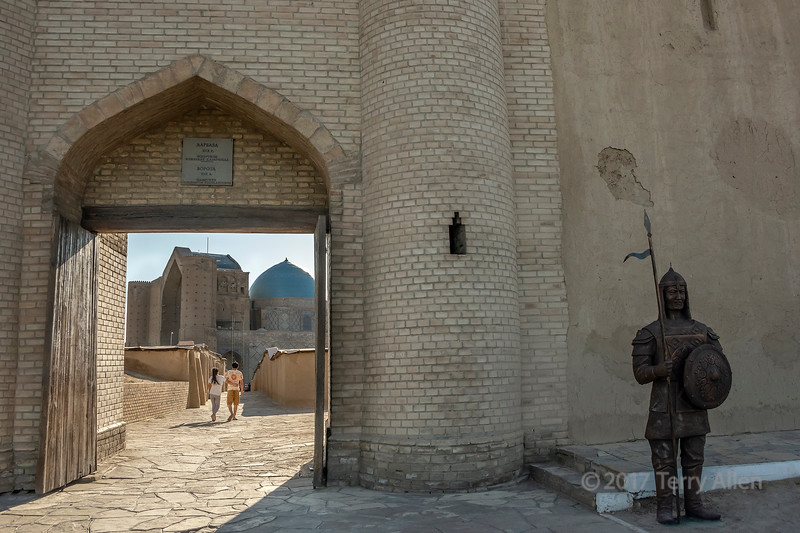 View of the mausoleum of Khoja Ahmed Yasawi though the fortified wall surrounding the UNESCO site, Turkestan, Kazakhstan
