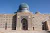Backside view with domes and glased tiles, mausoleum of Khoja Ahmed Yasawi, Turkestan, Kazakhstan