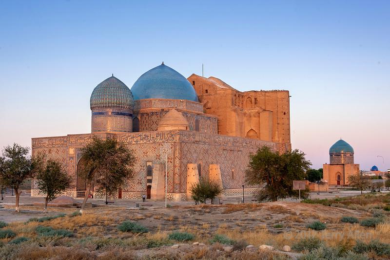 Mausoleums of Khoja Ahmed Yasawi and Rabigha-Sultan Begum at sunset, Kurdestan, Kazakhstan
