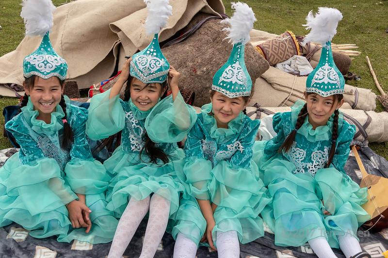 Four girls in festive attire