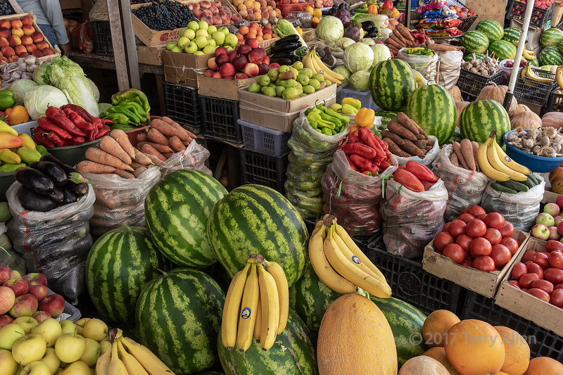 Fruit and vegetable for sale at roadside market, Saty, Kazakhstan