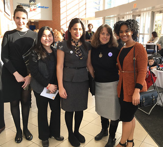 From left, MCC Paul H. Sullivan Leadership Institute students Valeria Fasold and Phvey You Seng, both of Lowell, and Genesis Martinez of Lawrence, Donna Corbin of Dracut and Vannesa Van Wyk of Westford.