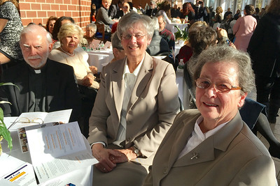 The Rev. Wilfred Harvey, Living the Dream Award recipient Sister Lorraine Richard and Sister Jane Holland, all of Lowell