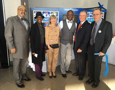From left, Claude W. Brown Sr. and Earnestine Harrison, both of Lawrence, Carolyn Walsh, William Murphy, City Councilor Rodney Elliott and Jack Moynihan, all of Lowell