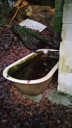 This old bath had a ballvalve attached to make a DIY drinking trough.