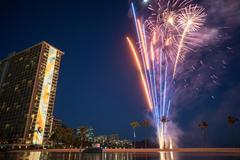 Fireworks at Rainbow Tower