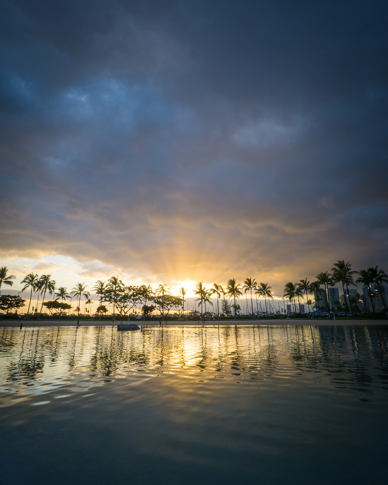 Palm Tree Sunset from the Lagoon