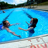 KRISTOPHER RADDER — BRATTLEBORO REFORMER<br /> Lauren, 9, and Everly LeClaire, 6, swim at the Vernon Recreational Pool, in Vernon, Vt., on Monday, June 22, 2020.