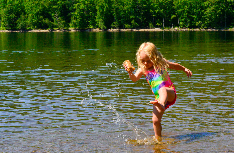 KRISTOPHER RADDER — BRATTLEBORO REFORMER<br /> Hayden Gaskell, 3, from Halifax, Vt., splashes in the water at Harriman Reservoir, in Wilmington, Vt., on Thursday, June 18, 2020.