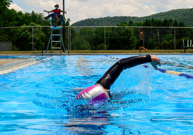 KRISTOPHER RADDER — BRATTLEBORO REFORMER<br /> Donna Smyth swims laps at the Vernon Recreational Pool, in Vernon, Vt., on Monday, June 22, 2020.